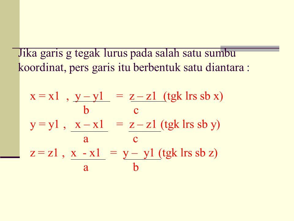 Jika garis g tegak lurus pada salah satu sumbu koordinat, pers garis itu berbentuk satu diantara : x = x1, y – y1 = z – z1 (tgk lrs sb x) b c y = y1, x – x1 = z – z1 (tgk lrs sb y) a c z = z1, x - x1 = y – y1 (tgk lrs sb z) a b