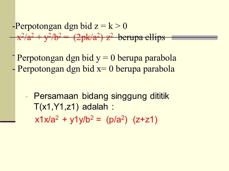 -Perpotongan dgn bid z = k > 0 x 2 /a 2 + y 2 /b 2 = (2pk/a 2 ) z 2 berupa ellips - Perpotongan dgn bid y = 0 berupa parabola - Perpotongan dgn bid x= 0 berupa parabola - Persamaan bidang singgung dititik T(x1,Y1,z1) adalah : x1x/a 2 + y1y/b 2 = (p/a 2 ).