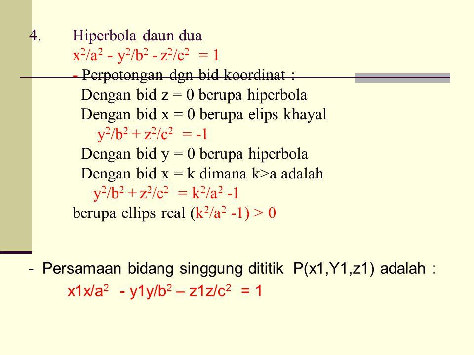 4.Hiperbola daun dua x 2 /a 2 - y 2 /b 2 - z 2 /c 2 = 1 - Perpotongan dgn bid koordinat : Dengan bid z = 0 berupa hiperbola Dengan bid x = 0 berupa elips khayal y 2 /b 2 + z 2 /c 2 = -1 Dengan bid y = 0 berupa hiperbola Dengan bid x = k dimana k>a adalah y 2 /b 2 + z 2 /c 2 = k 2 /a 2 -1 berupa ellips real (k 2 /a 2 -1) > 0 - Persamaan bidang singgung dititik P(x1,Y1,z1) adalah : x1x/a 2 - y1y/b 2 – z1z/c 2 = 1