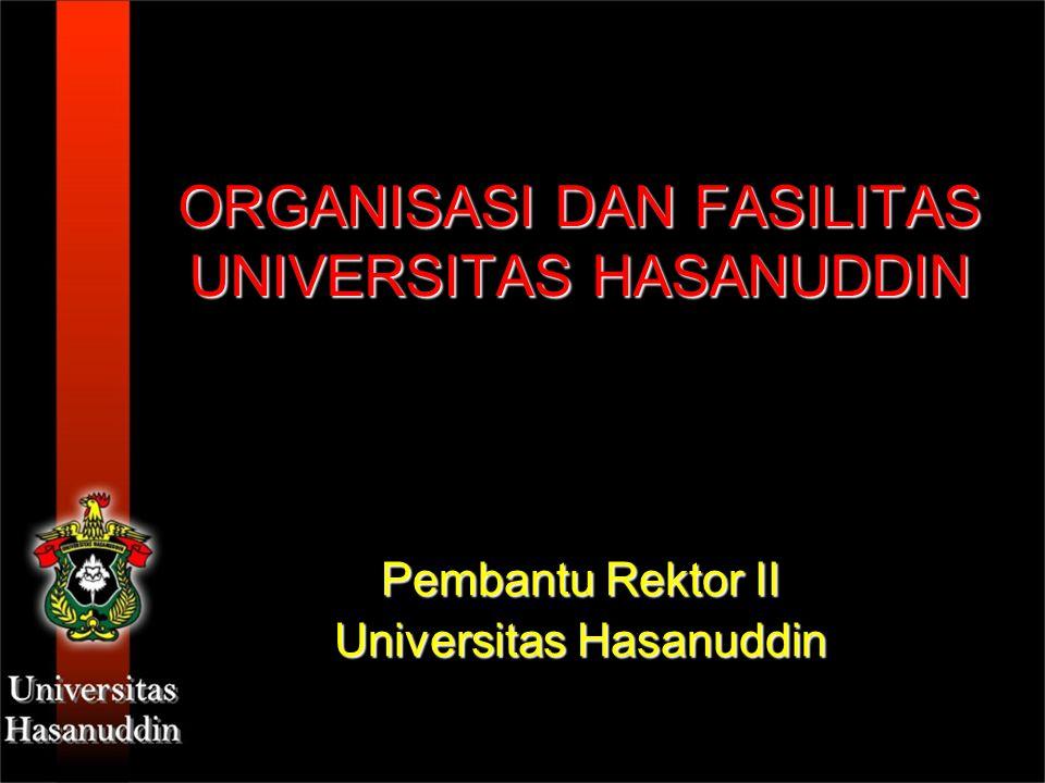 ORGANISASI DAN FASILITAS UNIVERSITAS HASANUDDIN Pembantu Rektor II Universitas Hasanuddin