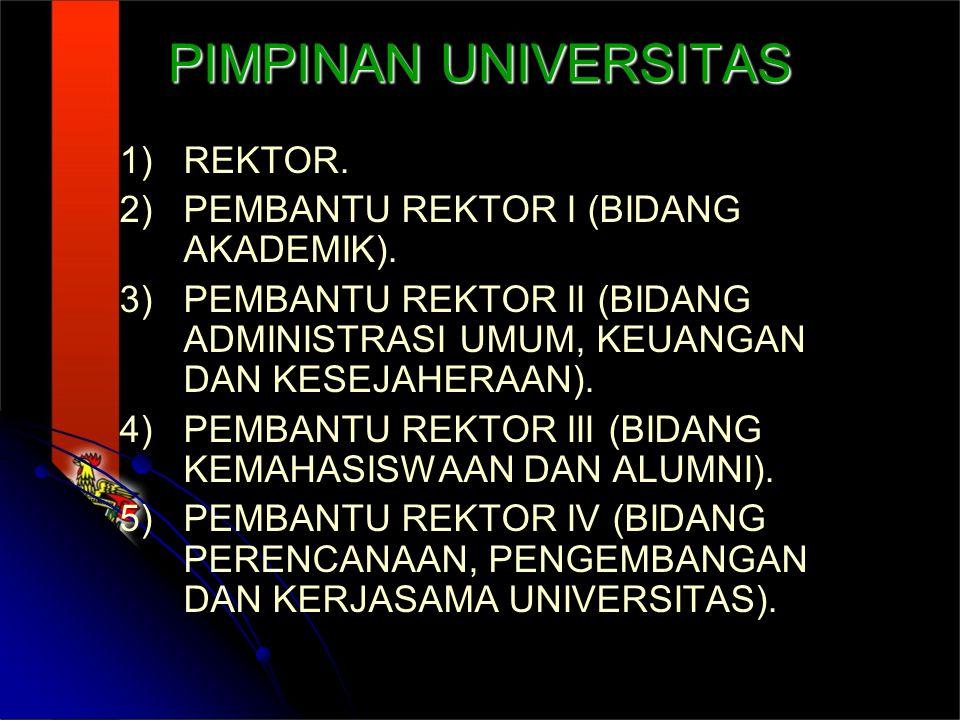 PIMPINAN UNIVERSITAS 1) 1)REKTOR.2) 2)PEMBANTU REKTOR I (BIDANG AKADEMIK).