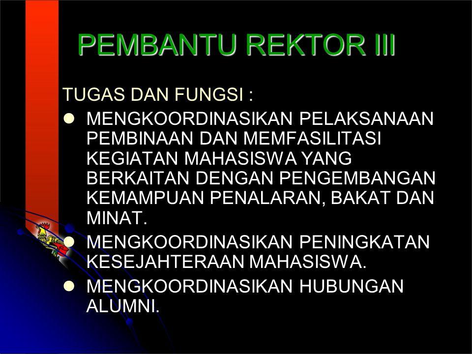 PEMBANTU REKTOR III TUGAS DAN FUNGSI : MENGKOORDINASIKAN PELAKSANAAN PEMBINAAN DAN MEMFASILITASI KEGIATAN MAHASISWA YANG BERKAITAN DENGAN PENGEMBANGAN KEMAMPUAN PENALARAN, BAKAT DAN MINAT.