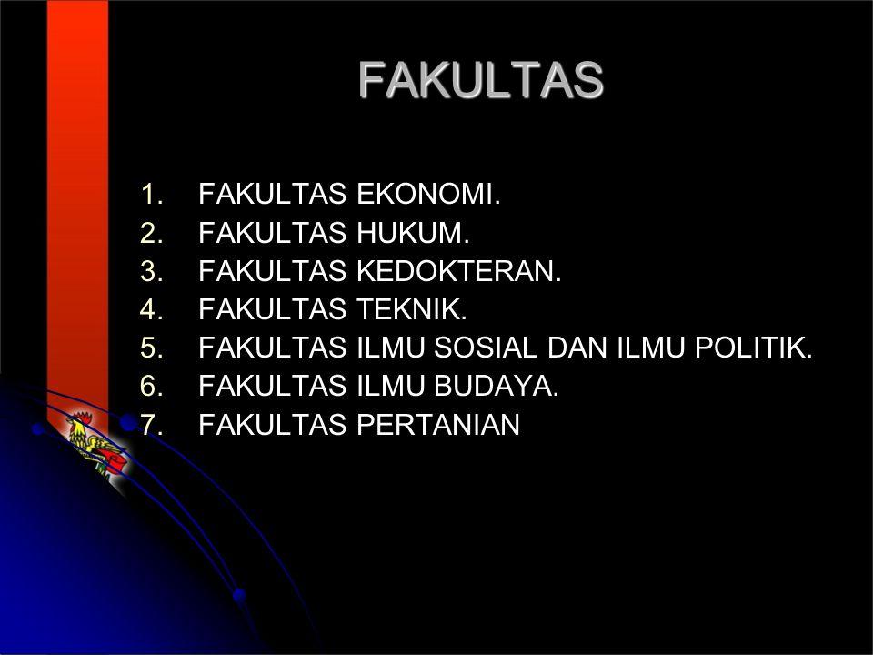 FAKULTAS 1.1.FAKULTAS EKONOMI. 2. 2.FAKULTAS HUKUM.