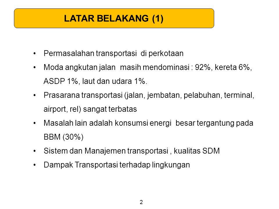 Permasalahan transportasi di perkotaan Moda angkutan jalan masih mendominasi : 92%, kereta 6%, ASDP 1%, laut dan udara 1%. Prasarana transportasi (jal