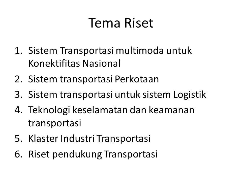 Tema Riset 1.Sistem Transportasi multimoda untuk Konektifitas Nasional 2.Sistem transportasi Perkotaan 3.Sistem transportasi untuk sistem Logistik 4.T