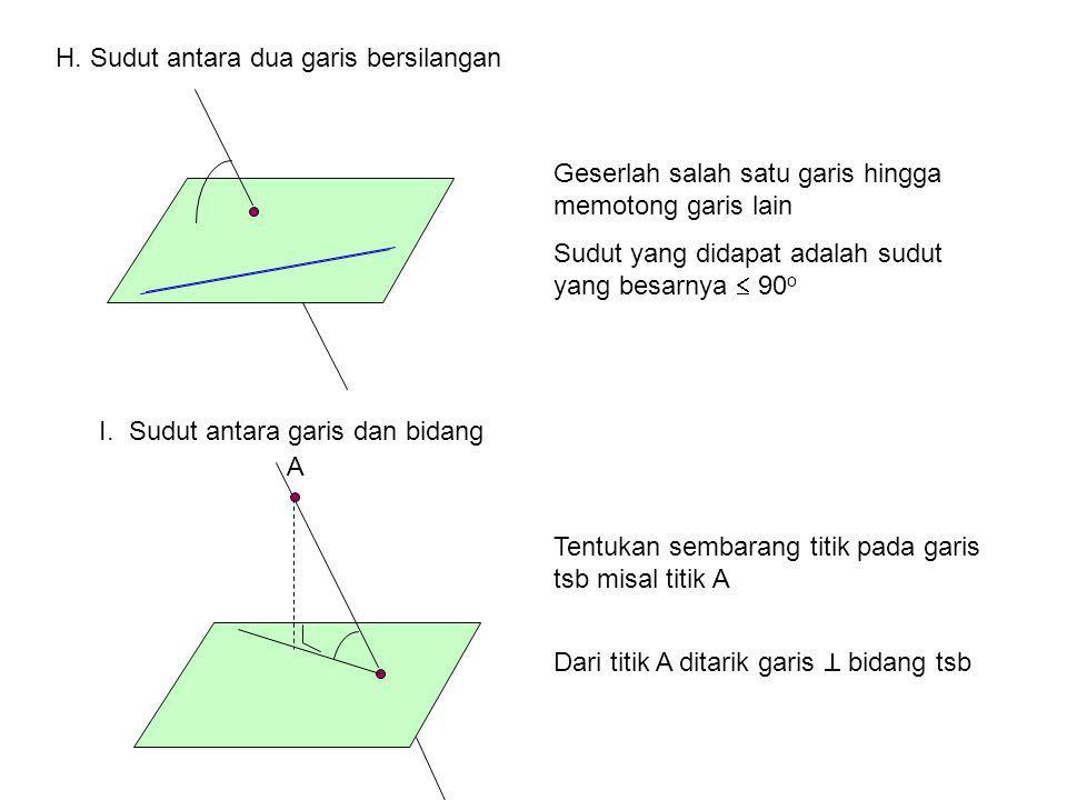 A B CD E F GH 4cm Diketahui kubus dengan panjang rusuk 4 cm Tentukan: Jarak AE ke CG =…. 4  2cm Jarak AH ke BC=…. 4cm Jarak AE ke BFHD=… 2  2cm Jara