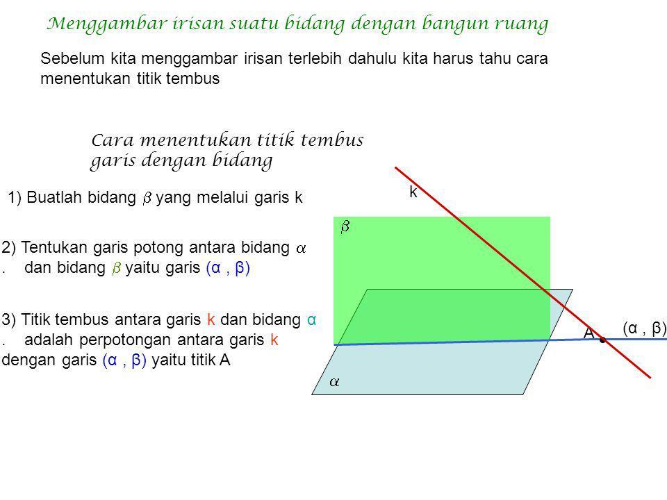 Diketahui kubus dengan panjang rusuk 6 cm Tentukan: O M OG = = = = GM = CM = = 2  3 Jarak C ke bidang DBG=…. Jawab Jaraknya adalah panjang CM = = 3 
