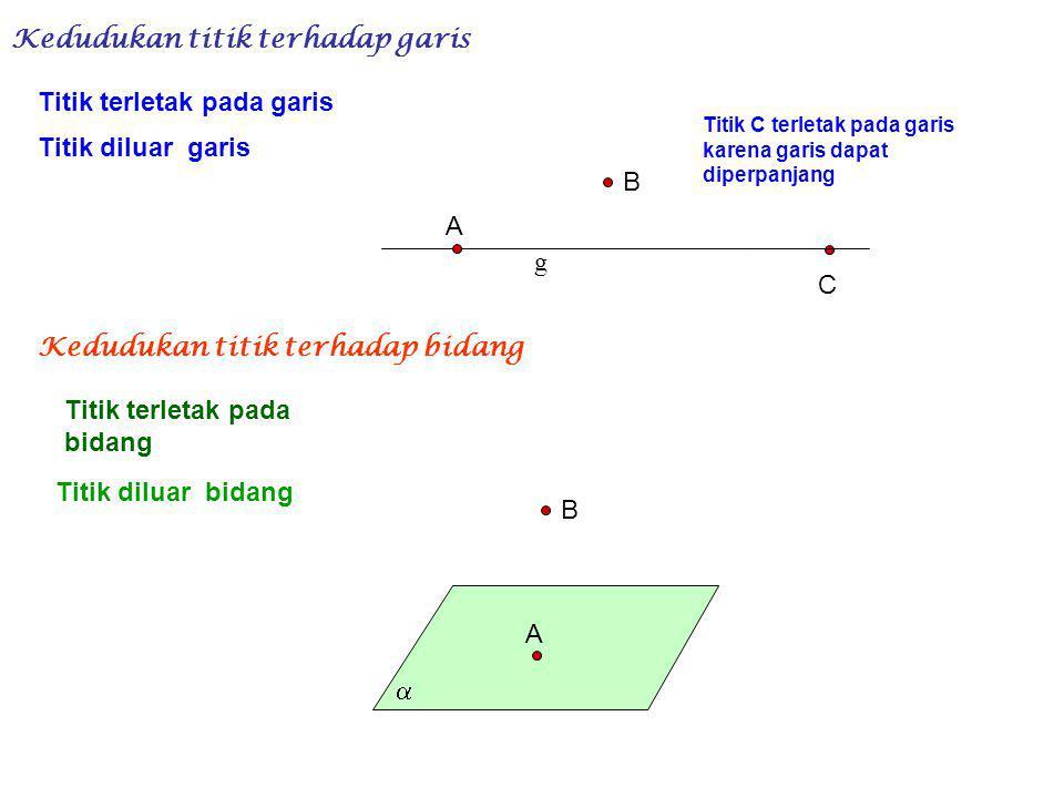 Kedudukan titik terhadap garis Titik terletak pada garis Titik diluar garis g A B C Kedudukan titik terhadap bidang Titik terletak pada bidang Titik diluar bidang A B  Titik C terletak pada garis karena garis dapat diperpanjang