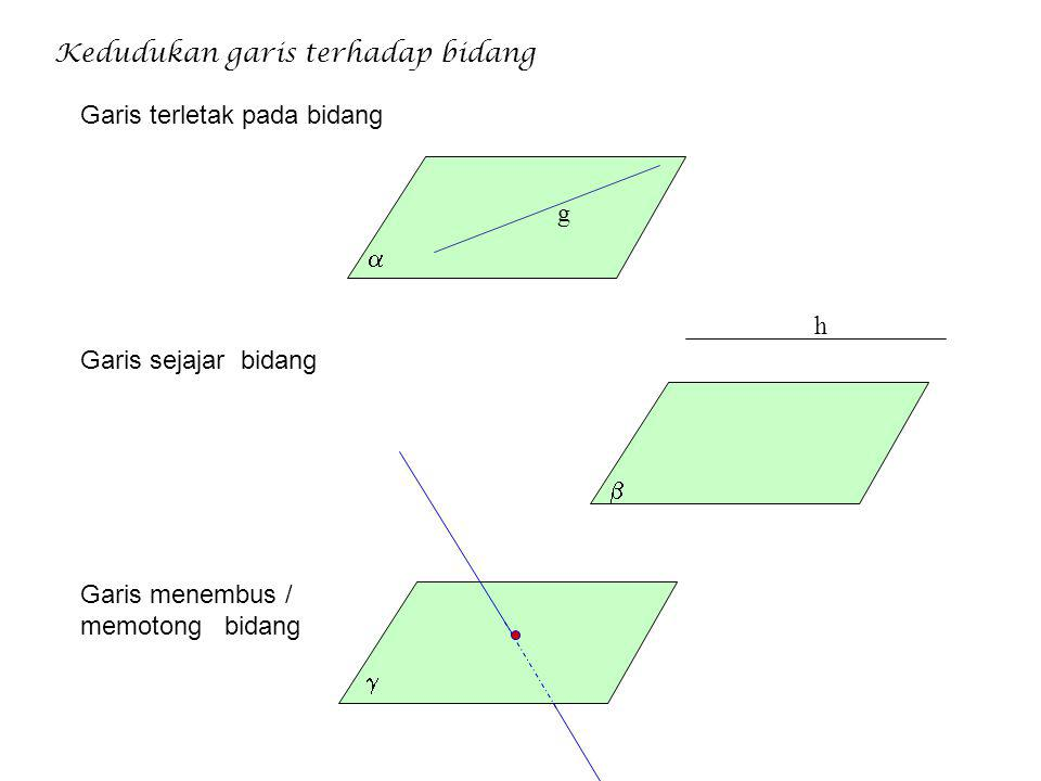 Kedudukan titik terhadap garis Titik terletak pada garis Titik diluar garis g A B C Kedudukan titik terhadap bidang Titik terletak pada bidang Titik d
