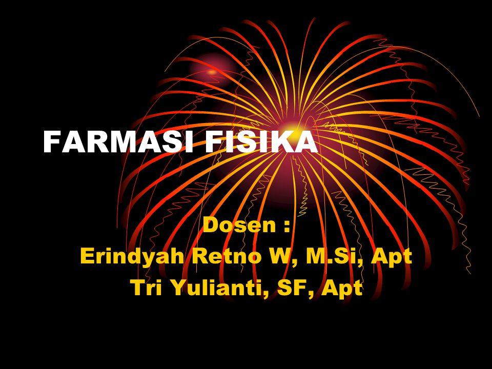 FARMASI FISIKA Dosen : Erindyah Retno W, M.Si, Apt Tri Yulianti, SF, Apt