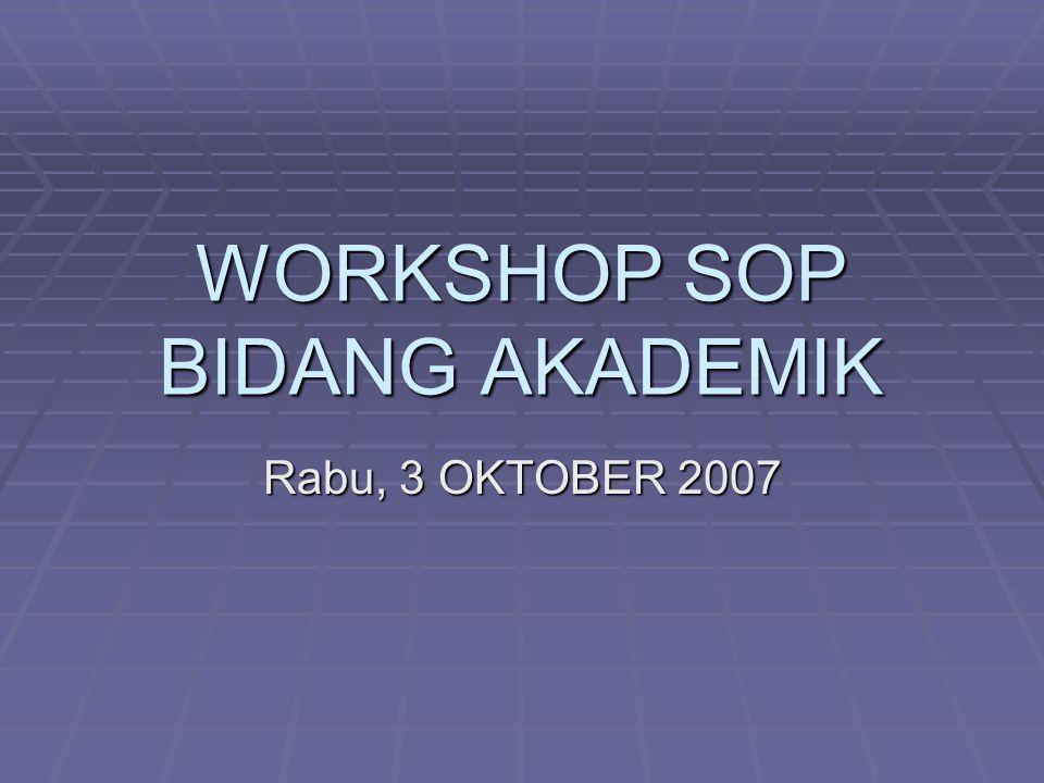 WORKSHOP SOP BIDANG AKADEMIK Rabu, 3 OKTOBER 2007