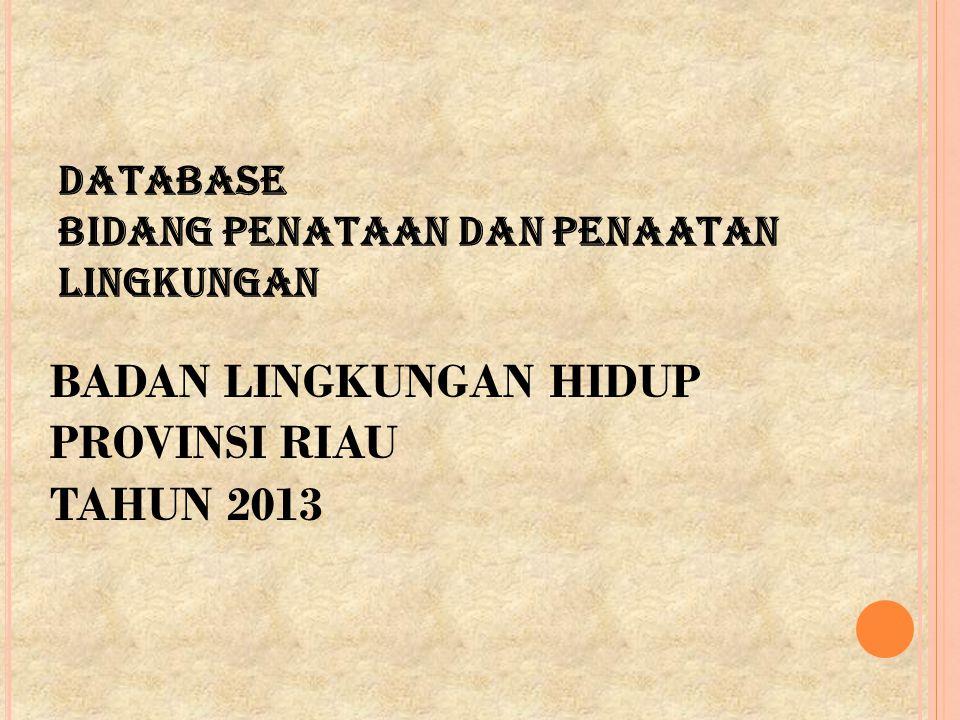 DATABASE BIDANG PENATAAN DAN PENAATAN LINGKUNGAN BADAN LINGKUNGAN HIDUP PROVINSI RIAU TAHUN 2013