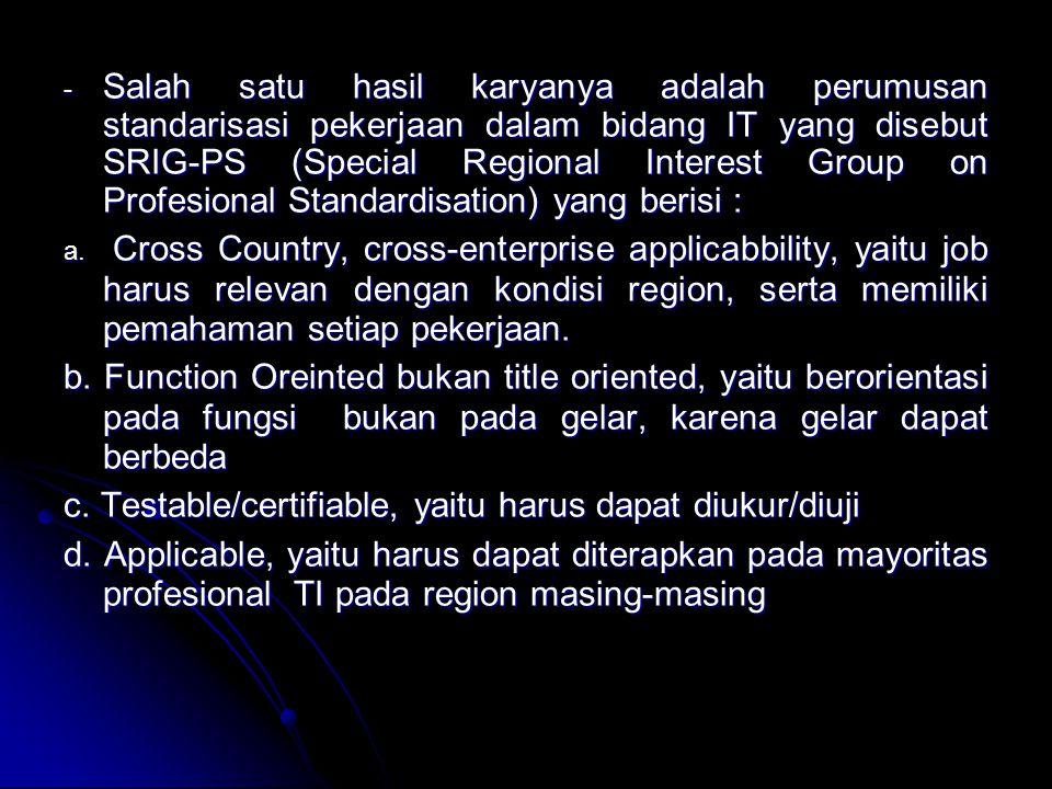 SRIG-PS memberikan hasil sebagai berikut: - Terbentuknya Kode Etik untuk profesional TI -Klasifikasi pekerjaan dalam bidang Teknologi Informasi -Panduan metoda sertifikasi dalam TI -Promosi dari program yang disusun oleh SRIG-PS ditiap negara anggota SEARCC