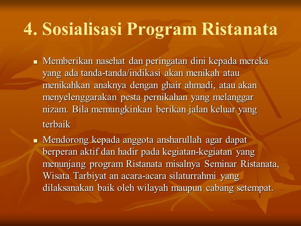 4. Sosialisasi Program Ristanata Memberikan nasehat dan peringatan dini kepada mereka yang ada tanda-tanda/indikasi akan menikah atau menikahkan anakn