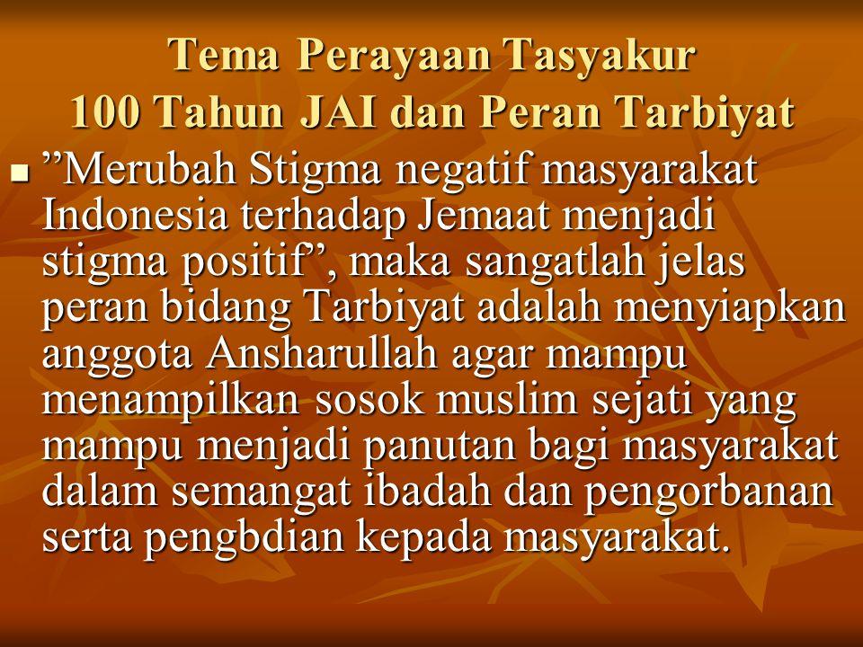 Merubah Stigma negatif masyarakat Indonesia terhadap Jemaat menjadi stigma positif , maka sangatlah jelas peran bidang Tarbiyat adalah menyiapkan anggota Ansharullah agar mampu menampilkan sosok muslim sejati yang mampu menjadi panutan bagi masyarakat dalam semangat ibadah dan pengorbanan serta pengbdian kepada masyarakat.