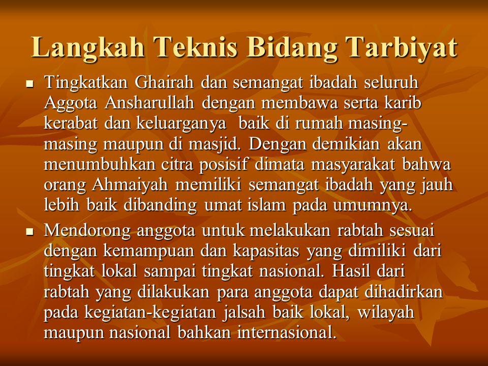 Tingkatkan Ghairah dan semangat ibadah seluruh Aggota Ansharullah dengan membawa serta karib kerabat dan keluarganya baik di rumah masing- masing maupun di masjid.
