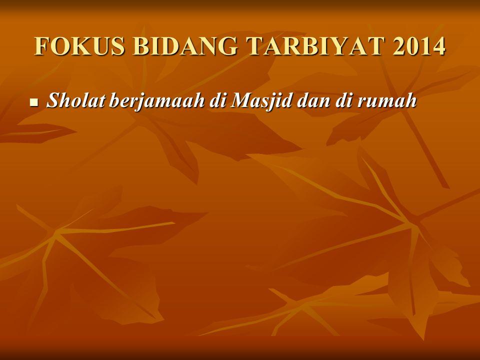 FOKUS BIDANG TARBIYAT 2014 Sholat berjamaah di Masjid dan di rumah Sholat berjamaah di Masjid dan di rumah