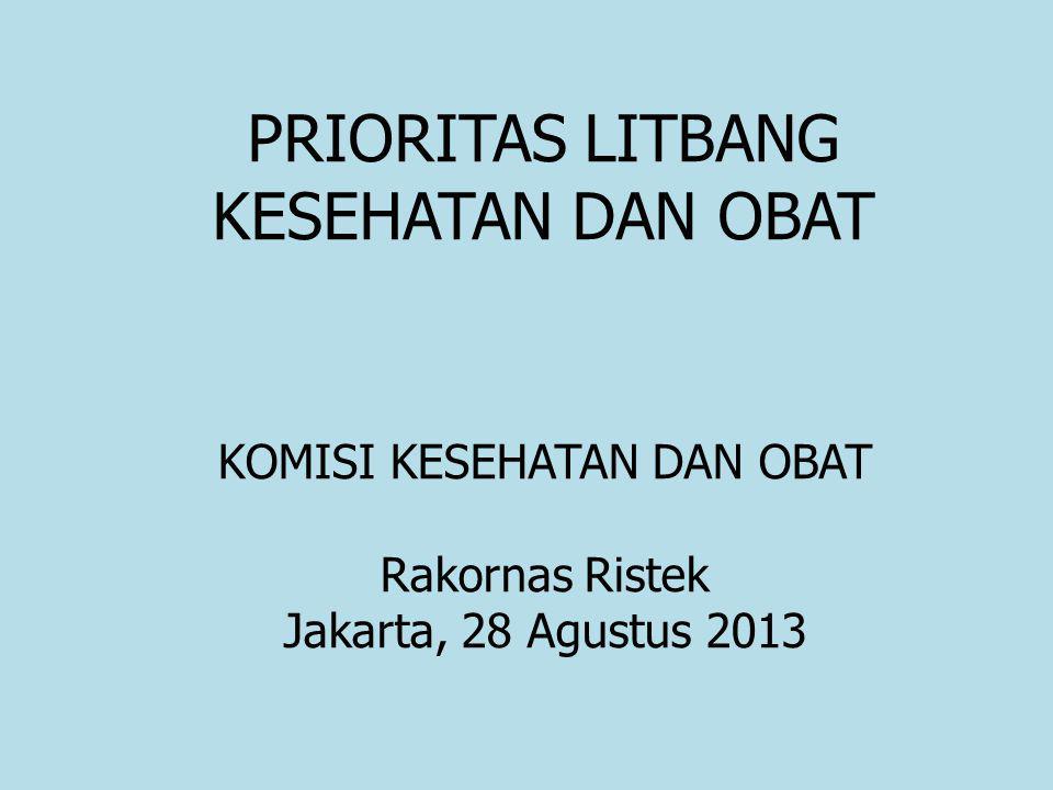 KOMISI KESEHATAN DAN OBAT Rakornas Ristek Jakarta, 28 Agustus 2013 PRIORITAS LITBANG KESEHATAN DAN OBAT