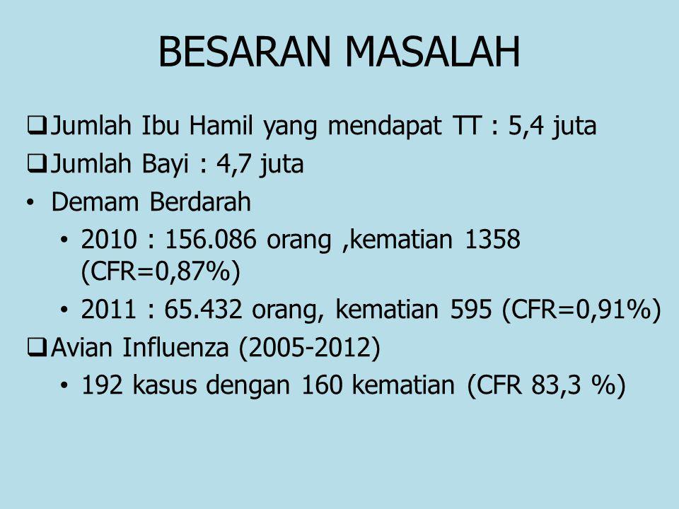 BESARAN MASALAH  Jumlah Ibu Hamil yang mendapat TT : 5,4 juta  Jumlah Bayi : 4,7 juta Demam Berdarah 2010 : 156.086 orang,kematian 1358 (CFR=0,87%)