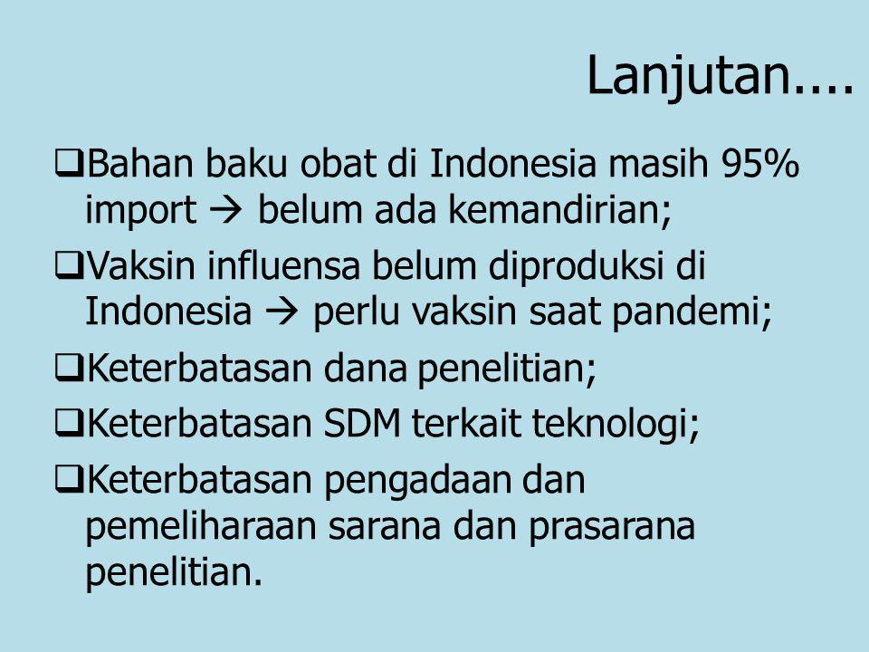 Lanjutan....  Bahan baku obat di Indonesia masih 95% import  belum ada kemandirian;  Vaksin influensa belum diproduksi di Indonesia  perlu vaksin