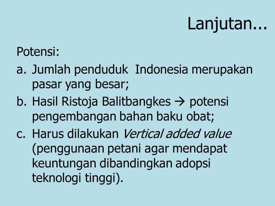Lanjutan... Potensi: a.Jumlah penduduk Indonesia merupakan pasar yang besar; b.Hasil Ristoja Balitbangkes  potensi pengembangan bahan baku obat; c.Ha