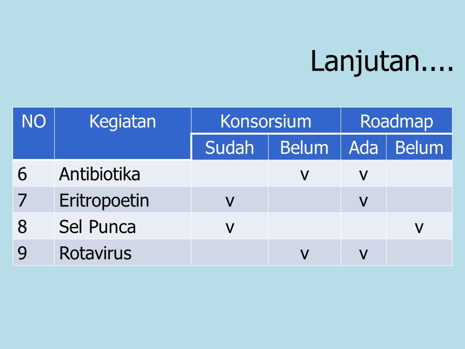 Lanjutan.... NOKegiatanKonsorsiumRoadmap SudahBelumAdaBelum 6Antibiotikavv 7Eritropoetinvv 8Sel Puncavv 9Rotavirusvv