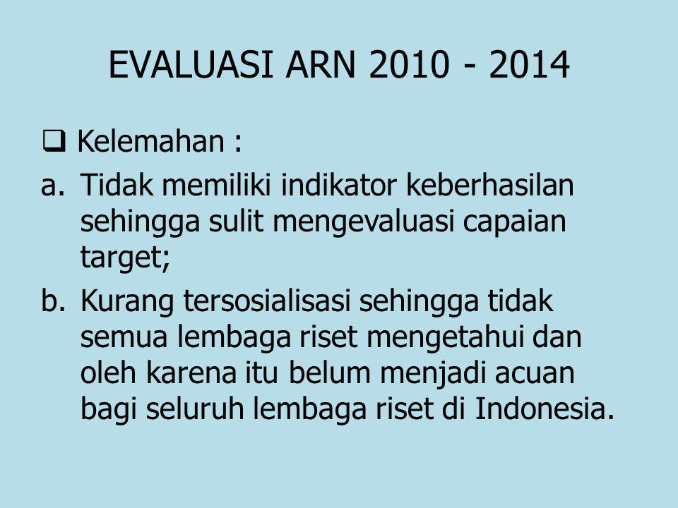 EVALUASI ARN 2010 - 2014  Kelemahan : a.Tidak memiliki indikator keberhasilan sehingga sulit mengevaluasi capaian target; b.Kurang tersosialisasi sehingga tidak semua lembaga riset mengetahui dan oleh karena itu belum menjadi acuan bagi seluruh lembaga riset di Indonesia.