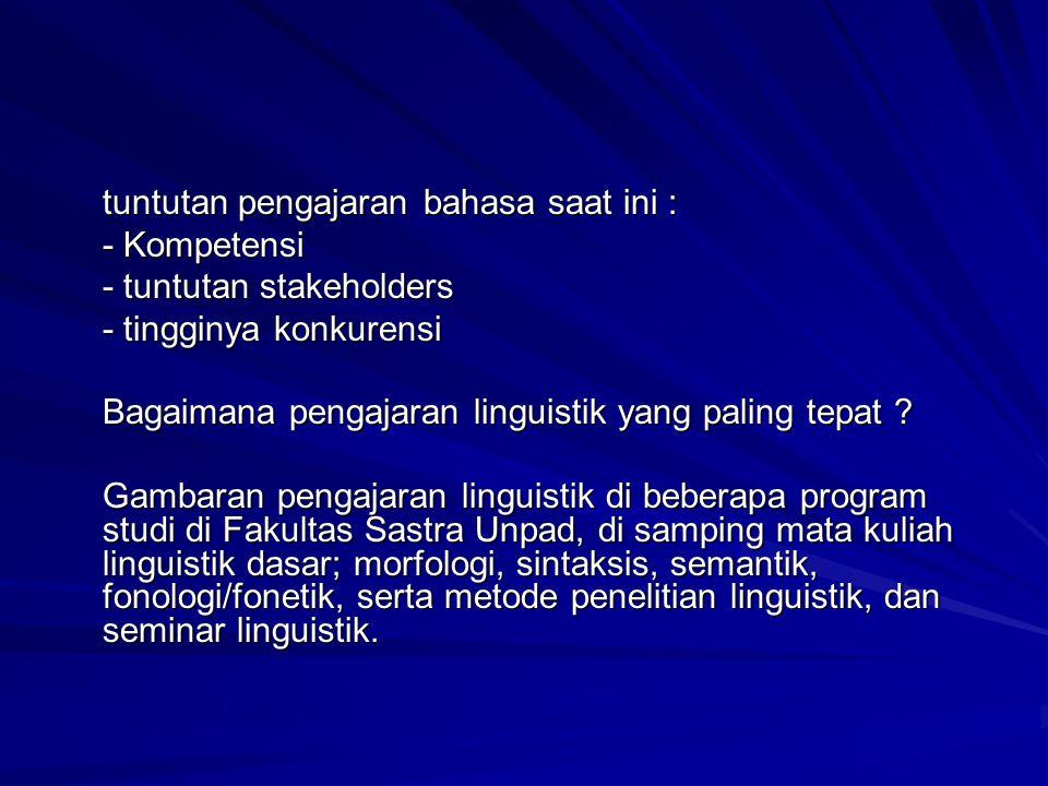 - PS Sastra Indonesia: a.wacana b. kapita selekta linguistik b.