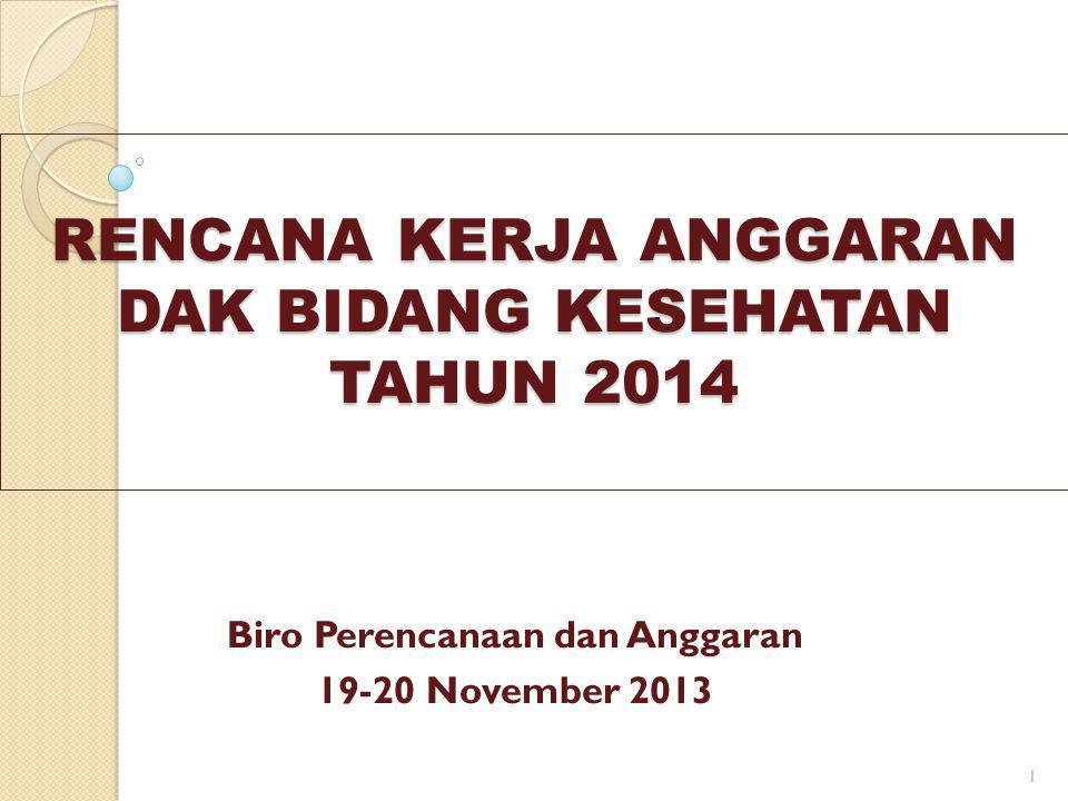 RENCANA KERJA ANGGARAN DAK BIDANG KESEHATAN TAHUN 2014 Biro Perencanaan dan Anggaran 19-20 November 2013 1