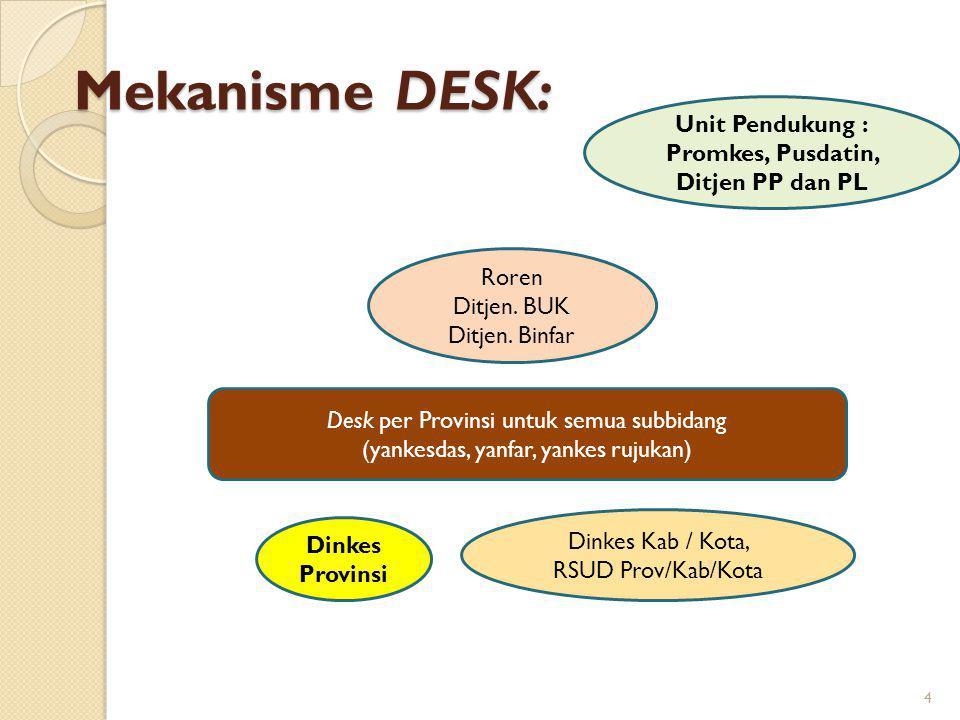 Mekanisme DESK: 4 Desk per Provinsi untuk semua subbidang (yankesdas, yanfar, yankes rujukan) Roren Ditjen.