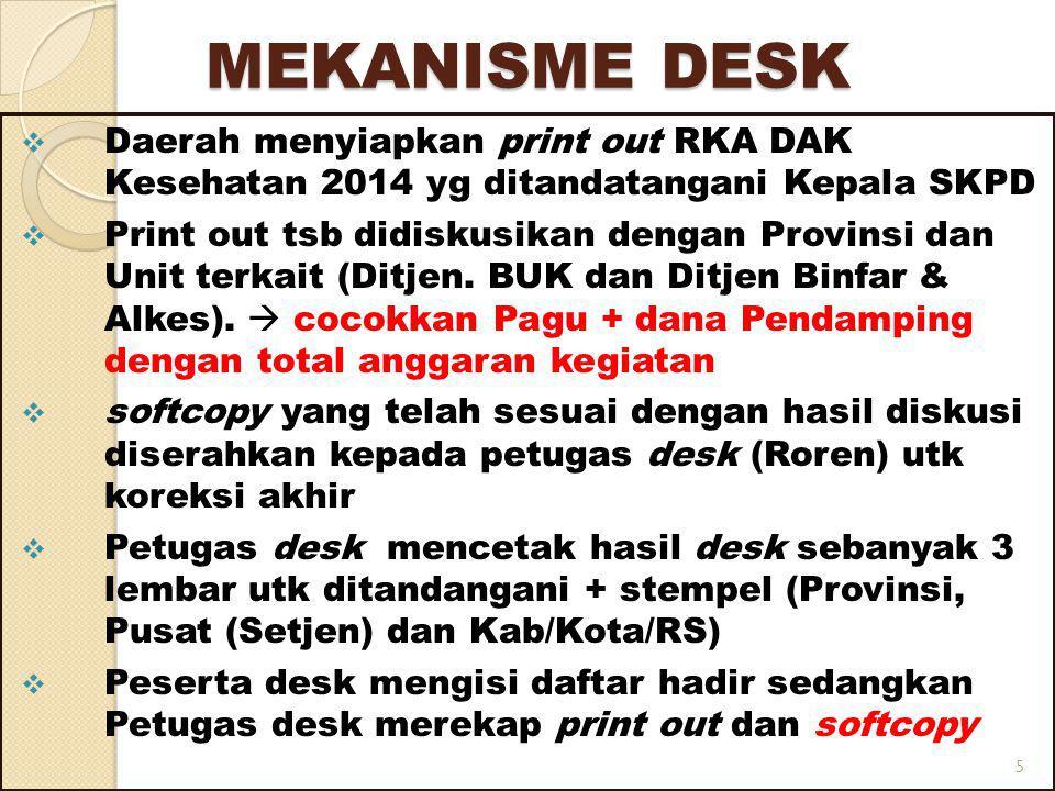 MEKANISME DESK  Daerah menyiapkan print out RKA DAK Kesehatan 2014 yg ditandatangani Kepala SKPD  Print out tsb didiskusikan dengan Provinsi dan Unit terkait (Ditjen.