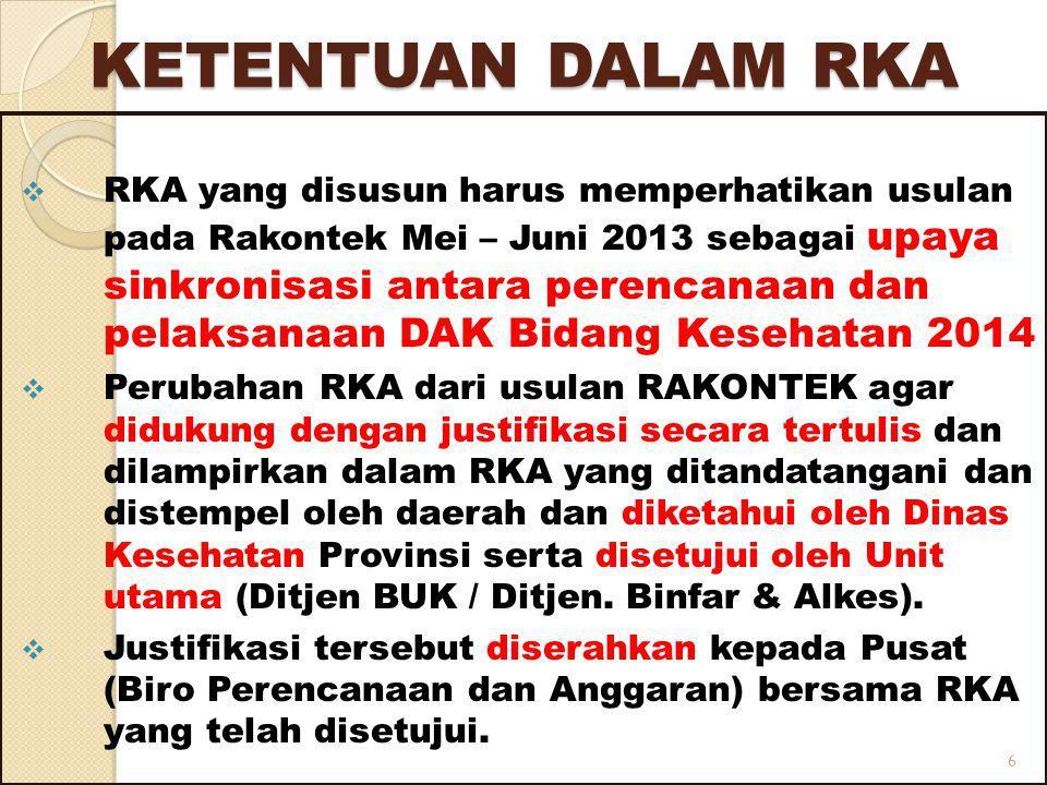 KETENTUAN DALAM RKA  RKA yang disusun harus memperhatikan usulan pada Rakontek Mei – Juni 2013 sebagai upaya sinkronisasi antara perencanaan dan pelaksanaan DAK Bidang Kesehatan 2014  Perubahan RKA dari usulan RAKONTEK agar didukung dengan justifikasi secara tertulis dan dilampirkan dalam RKA yang ditandatangani dan distempel oleh daerah dan diketahui oleh Dinas Kesehatan Provinsi serta disetujui oleh Unit utama (Ditjen BUK / Ditjen.