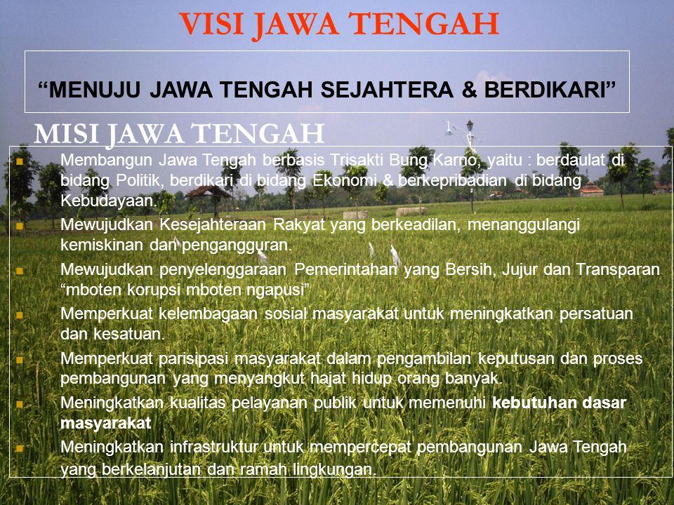 VISI JAWA TENGAH MENUJU JAWA TENGAH SEJAHTERA & BERDIKARI MISI JAWA TENGAH Membangun Jawa Tengah berbasis Trisakti Bung Karno, yaitu : berdaulat di bidang Politik, berdikari di bidang Ekonomi & berkepribadian di bidang Kebudayaan.