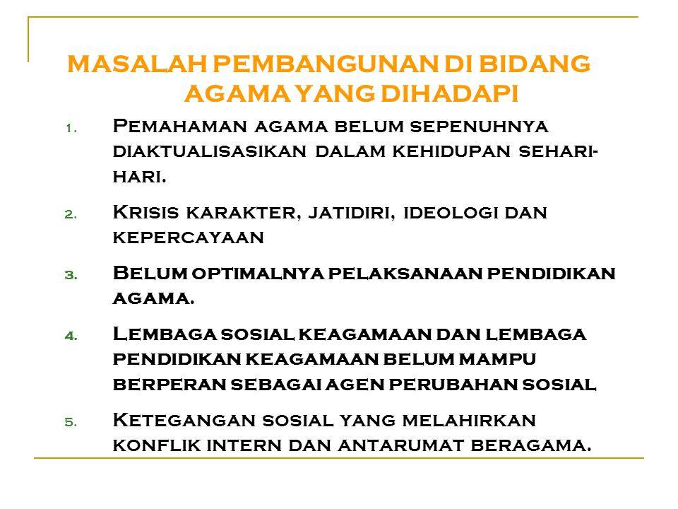 MASALAH PEMBANGUNAN DI BIDANG AGAMA YANG DIHADAPI 1.