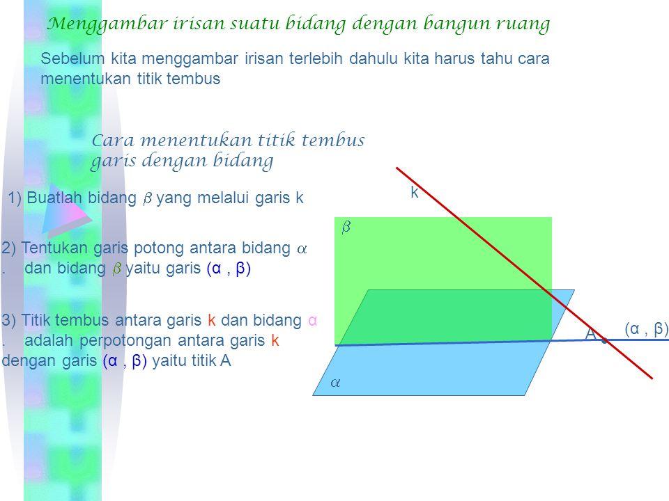 A B CD E F GH geris AD Diketahui kubus Tentukan: Titik-titik yang terletak pada garis AB=…. Titik A dan B Titik-titik yang diluar garis AB=…titik E, F