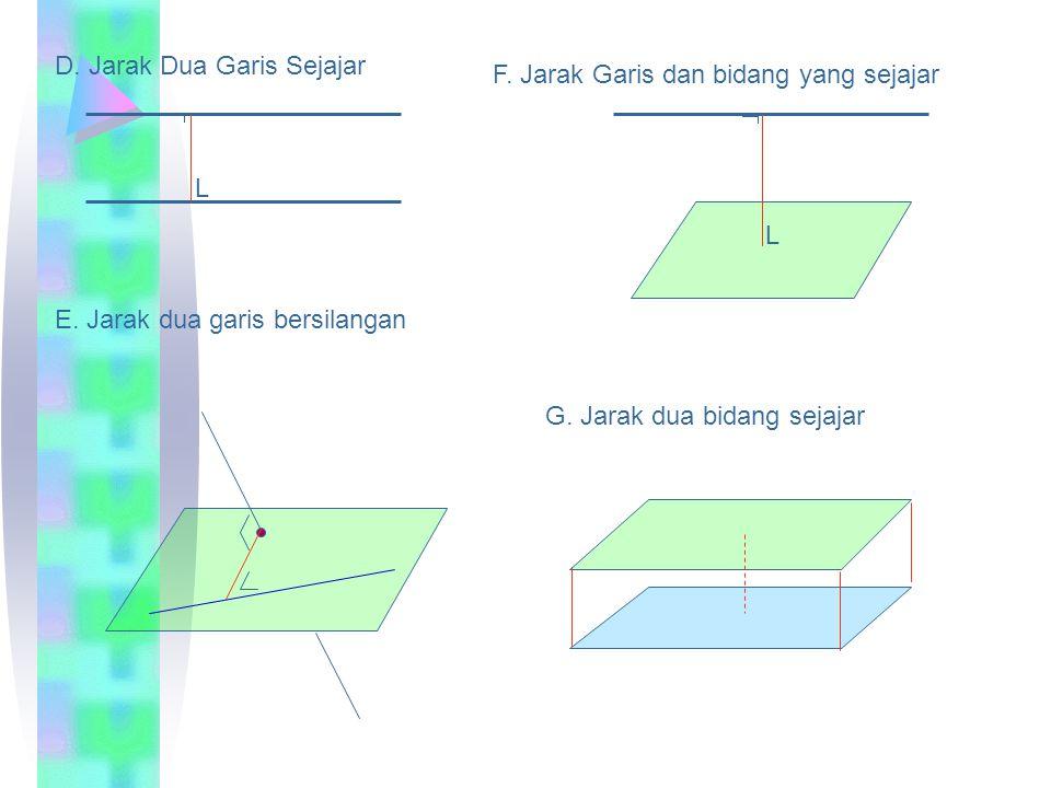 A B CD E F GH Diketahui kubus dengan panjang rusuk 4 cm Tentukan: Jarak A ke D = …4cm Jarak A ke C = …. 4  2 cm Jarak A ke G =…. 4  3 cm Jarak A ke