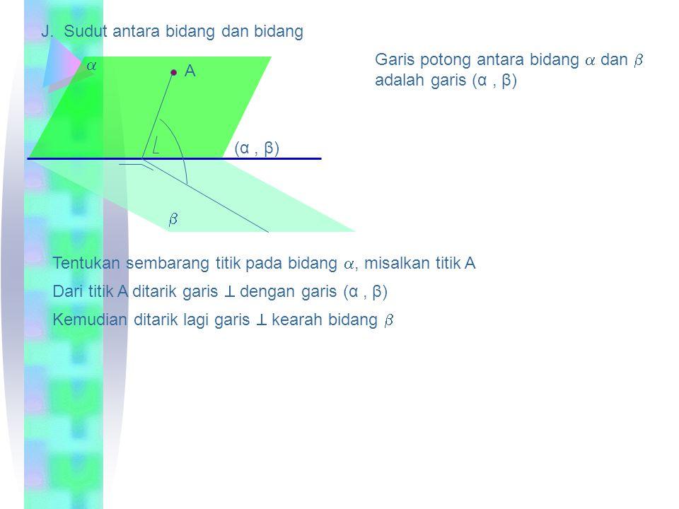 H. Sudut antara dua garis bersilangan I. Sudut antara garis dan bidang A Geserlah salah satu garis hingga memotong garis lain Sudut yang didapat adala