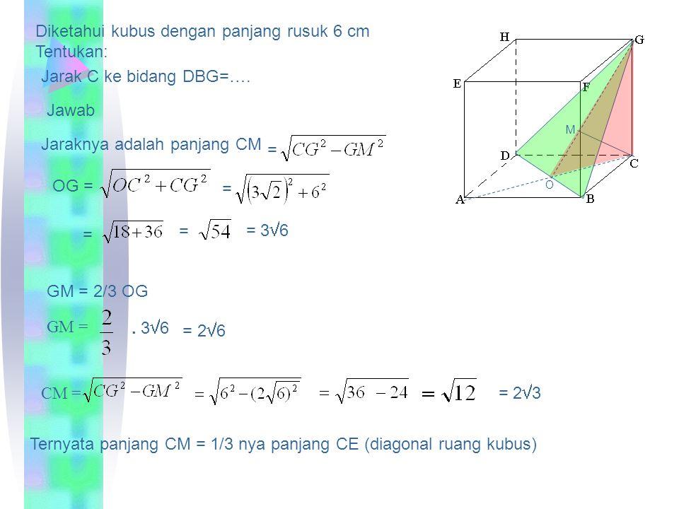 Diketahui kubus dengan panjang rusuk 4 cm Tentukan: = Tan ABCD dengan ACF =….. Sudut antara AH dengan BC=…. Sinus HB dengan ABCD =….. 45 o o A B CD E