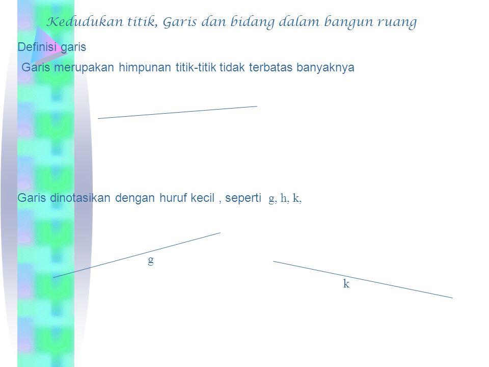 Definisi garis Garis merupakan himpunan titik-titik tidak terbatas banyaknya Garis dinotasikan dengan huruf kecil, seperti g, h, k, g k