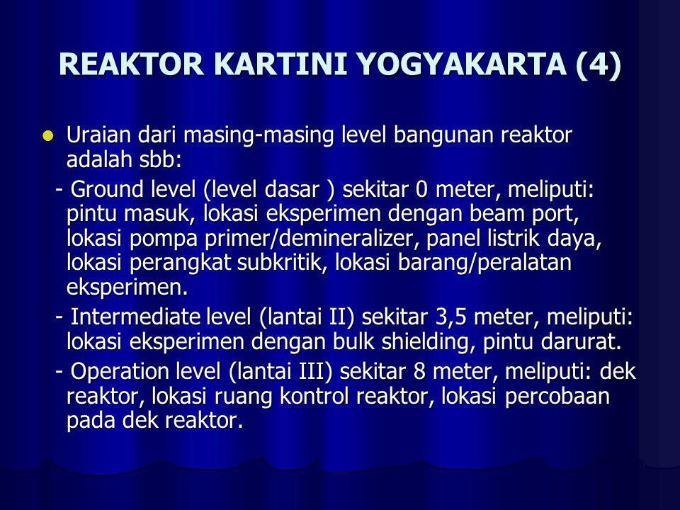 REAKTOR KARTINI YOGYAKARTA (4) Uraian dari masing-masing level bangunan reaktor adalah sbb: Uraian dari masing-masing level bangunan reaktor adalah sb