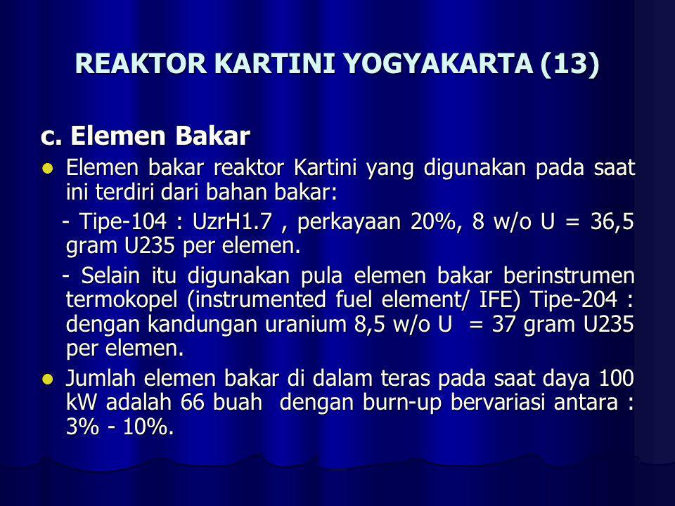 REAKTOR KARTINI YOGYAKARTA (13) c. Elemen Bakar Elemen bakar reaktor Kartini yang digunakan pada saat ini terdiri dari bahan bakar: Elemen bakar reakt