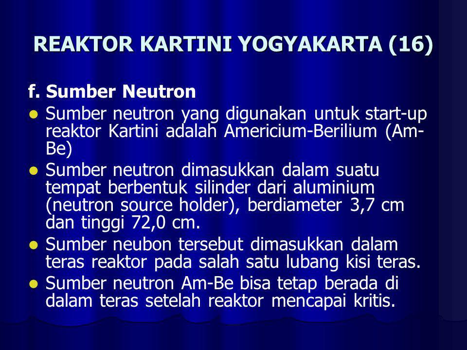 REAKTOR KARTINI YOGYAKARTA (17) Spesifikasi sumber neutron Am-Be: - bentuk fisik : kapsul - tipe : X.4 - kode kapsul : AMN.23 - aktivitas : 3 Ci (per April 1981) - pancaran : 6,6 x E6 - diameter kapsul: 22,4 mm - tinggi kapsul : 48,5 mm