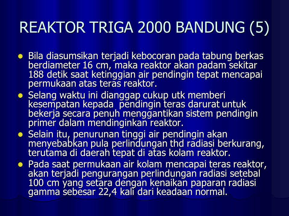 REAKTOR TRIGA 2000 BANDUNG (5) Bila diasumsikan terjadi kebocoran pada tabung berkas berdiameter 16 cm, maka reaktor akan padam sekitar 188 detik saat