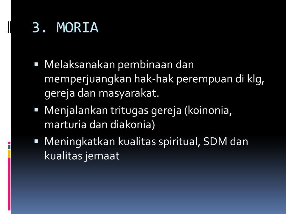 3. MORIA  Melaksanakan pembinaan dan memperjuangkan hak-hak perempuan di klg, gereja dan masyarakat.  Menjalankan tritugas gereja (koinonia, marturi