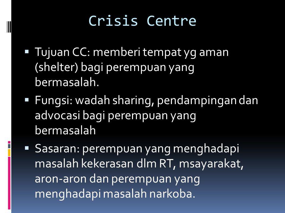 Crisis Centre  Tujuan CC: memberi tempat yg aman (shelter) bagi perempuan yang bermasalah.  Fungsi: wadah sharing, pendampingan dan advocasi bagi pe