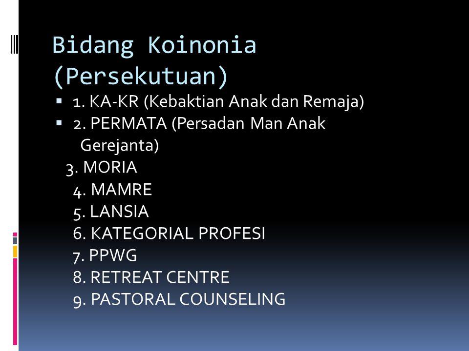 Program Kerja di Moderamen  Melakukan pemberdayaan dengan pelatihan khusus bagi Pdt, Pt/Dk bagi kelompok umur Moria.