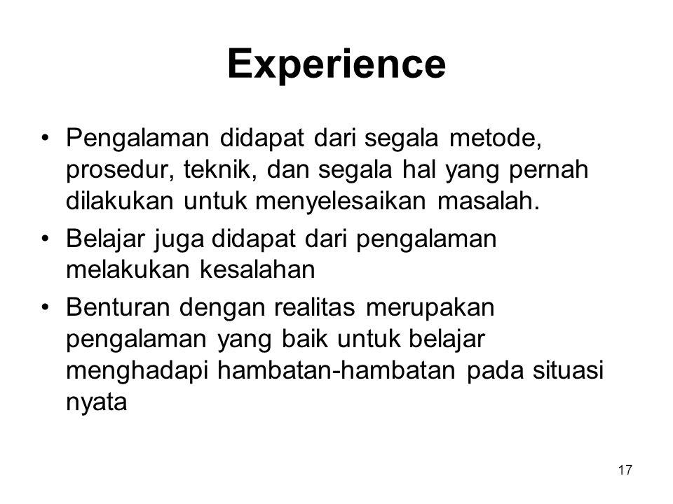17 Experience Pengalaman didapat dari segala metode, prosedur, teknik, dan segala hal yang pernah dilakukan untuk menyelesaikan masalah. Belajar juga