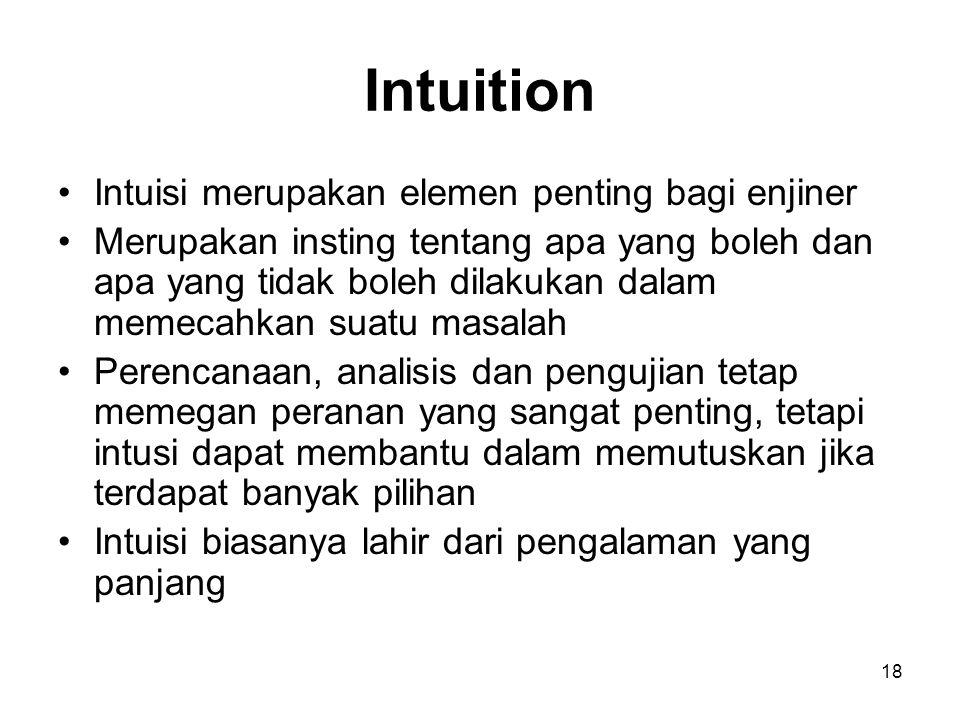 18 Intuition Intuisi merupakan elemen penting bagi enjiner Merupakan insting tentang apa yang boleh dan apa yang tidak boleh dilakukan dalam memecahka