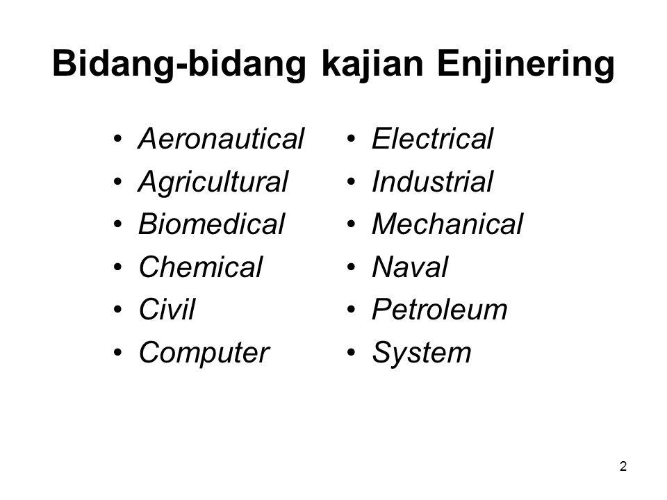 3 Aeronautical/Aerospace Engineer Bidang pengetahuan: –Aerodynamics –Fluid mechanics –Stucture –Control system –Heat transfer –Hydraulics dll Kegiatan : bekerja dalam tim dalam hal penerbangan dan eksplorasi angkasa.