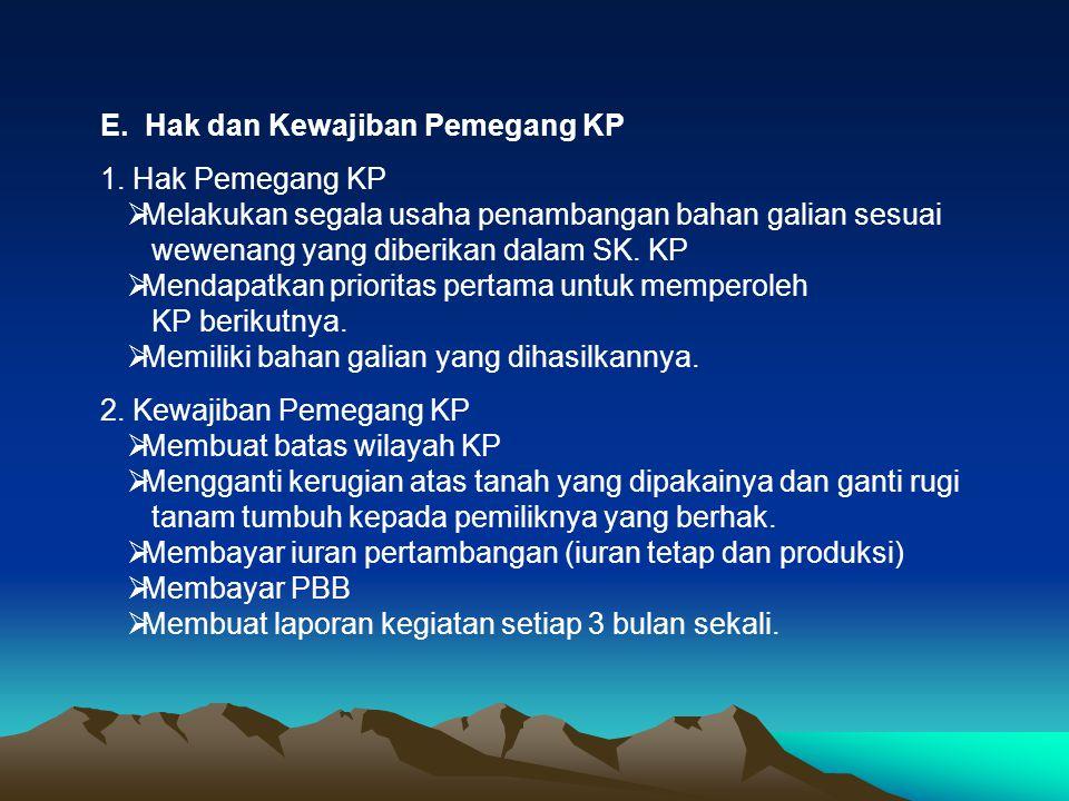 E. Hak dan Kewajiban Pemegang KP 1. Hak Pemegang KP  Melakukan segala usaha penambangan bahan galian sesuai wewenang yang diberikan dalam SK. KP  Me